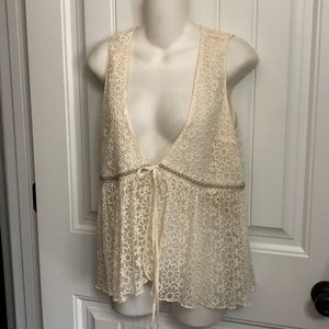 Nwts Anthropologie Lace Beaded A'reve Top Vest Med